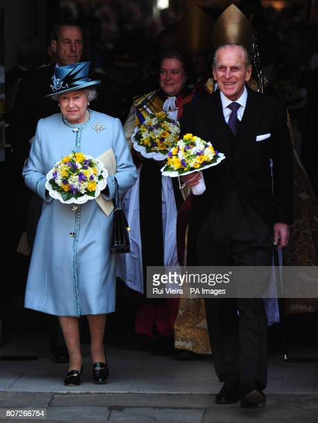 Queen Elizabeth II and the Duke of Edinburgh leave Derby Cathedral after attending the Royal Maundy Service