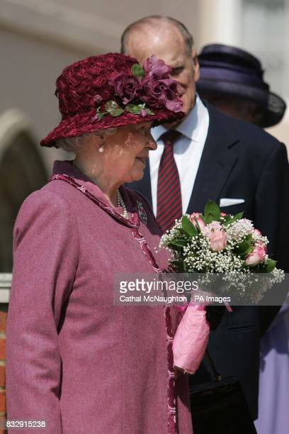 HRH Queen Elizabeth II and the Duke of Edinburgh leave the Easter Sunday service in St George's Chapel Windsor Castle