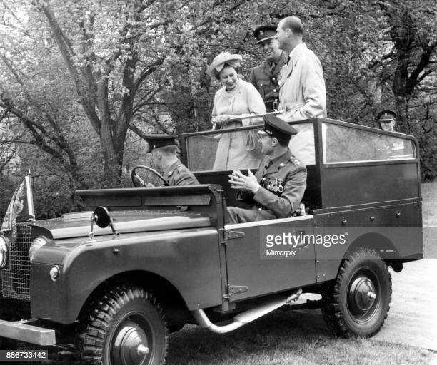 Queen Elizabeth II and the Duke of Edinburgh visit Wales Pictured the Queen and the Duke share a joke in the back of an open LandRover with the...