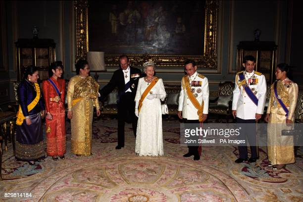 Queen Elizabeth II and the Duke of Edinburgh with King Bhumibol of Thailand and his family at the Charkri Palace in Bangkok