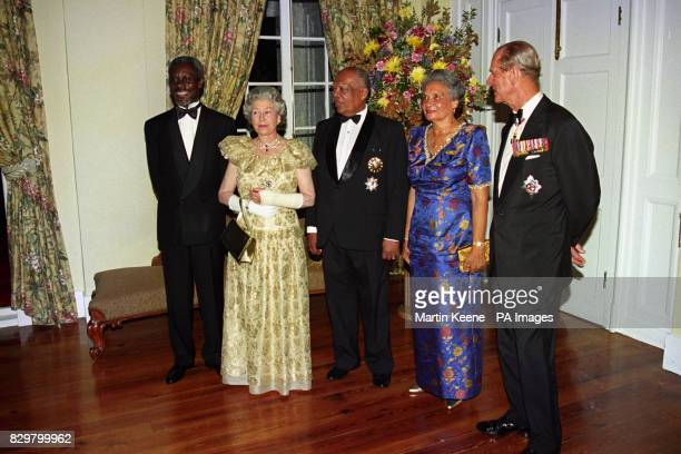Queen Elizabeth II and the Duke of Edinburgh with the Jamaican Prime Minister Percival Patterson left and Governor General Sir Howard Cooke and wife...