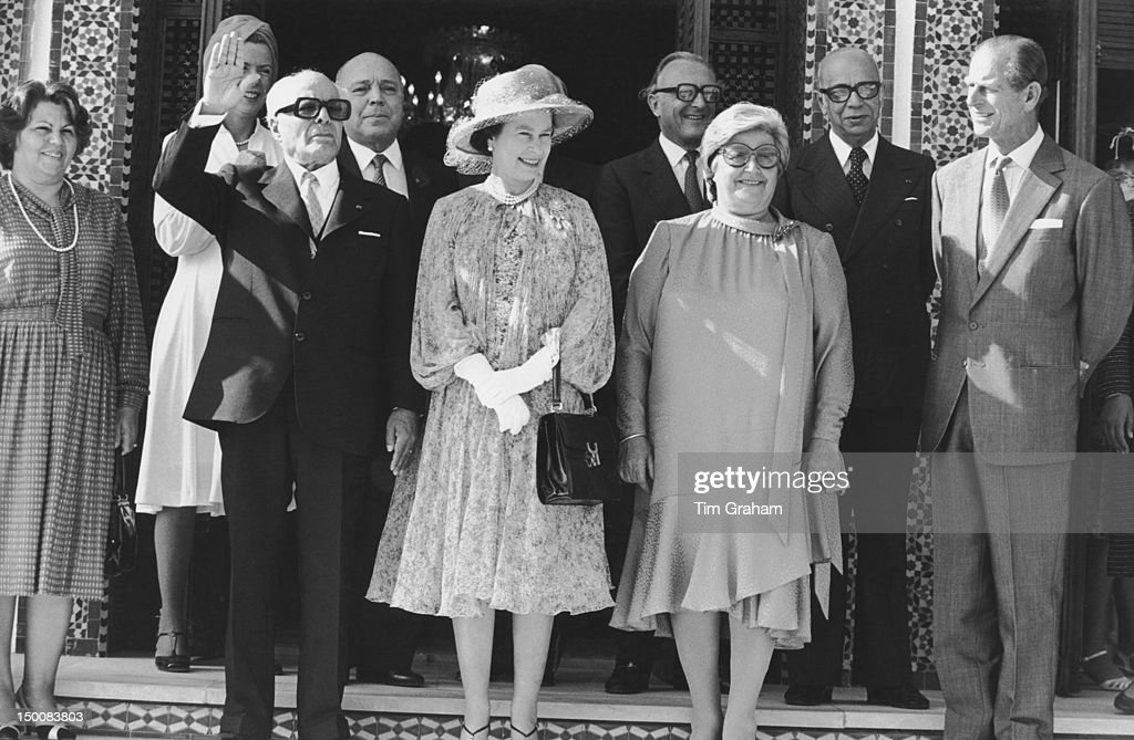 Queen <a gi-track='captionPersonalityLinkClicked' href=/galleries/search?phrase=Elizabeth+II&family=editorial&specificpeople=67226 ng-click='$event.stopPropagation()'>Elizabeth II</a> and the Duke of Edinburgh with the President of Tunisia, <a gi-track='captionPersonalityLinkClicked' href=/galleries/search?phrase=Habib+Bourguiba&family=editorial&specificpeople=213571 ng-click='$event.stopPropagation()'>Habib Bourguiba</a> (1903 - 2000) and his wife Wassila Bourguiba in Tunis, during a State Visit to Tunisia, 21st October 1980.