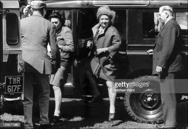 Queen Elizabeth II and the Queen Mother arriving at Badminton 1968