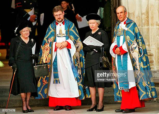 Queen Elizabeth II and the Queen Mother outside Westminster Abbey London for the funeral of Diana Princess of Wales on September 6 1997