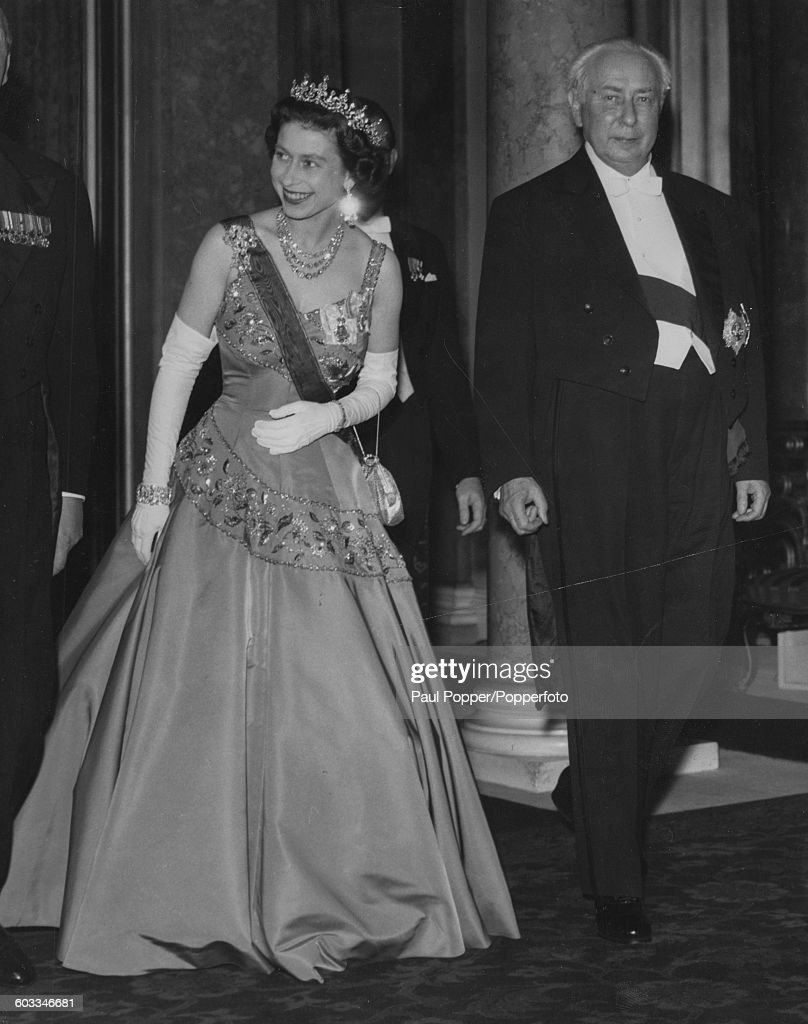 Queen Elizabeth II and Theodor Heuss President of the Federal Republic of Germany attend a reception in honour of President Heuss on the last night...