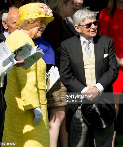 Queen Elizabeth II and Willie Carson attend Derby day at Epsom Derby festival at Epsom Downs on June 3 2017 in Epsom England