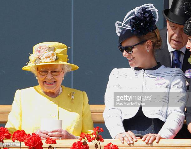 Queen Elizabeth II and Zara Phillips attend day 4 of Royal Ascot at Ascot Racecourse on June 19 2015 in Ascot England