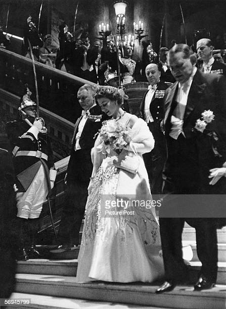 Queen Elizabeth II arrives at a reception in Paris during her state visit to France 20th April 1957 Original publication Picture Post 8890 The Queen...