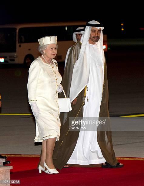 Queen Elizabeth II arrives at Abu Dhabi Airport on November 24 2010 in Abu Dhabi United Arab Emirates Queen Elizabeth II and Prince Philip Duke of...