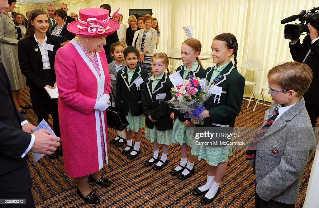 Queen Elizabeth II arrives at Berkhamsted School for the School's 475th Anniversary celebrations on May 6, 2016 in Berkhamsted, England.