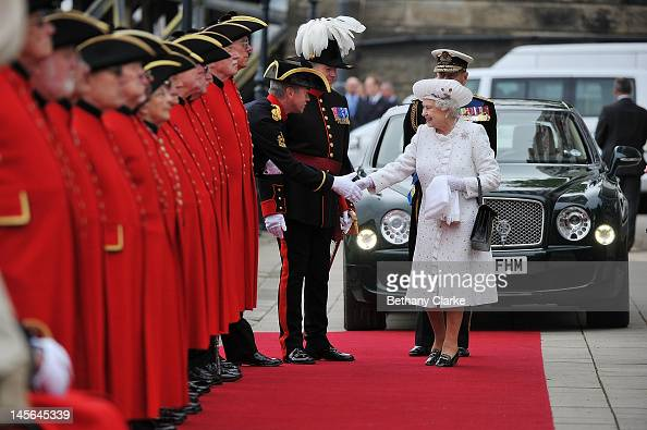Queen Elizabeth II arrives at Chelsea Pier on June 3 2012 in London England For only the second time in its history the UK celebrates the Diamond...