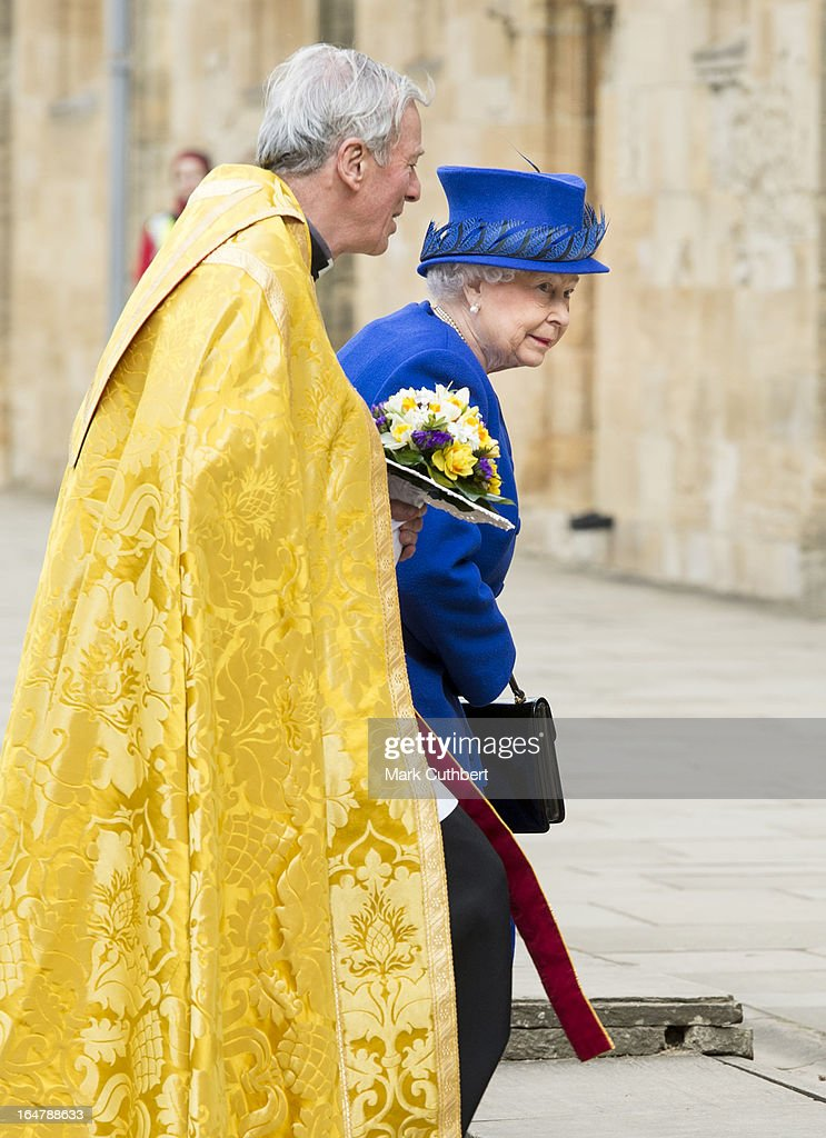 Queen Elizabeth II arrives at Christs Church Cathedral in Oxford for The Royal Maundy Service on March 28, 2013 in Oxford, England.