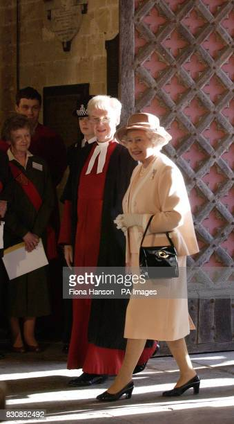 Queen Elizabeth II arrives at Exeter Cathedral during her Golden Jubilee visit to the city