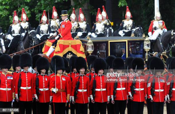 Queen Elizabeth II arrives at Horse Guards Parade London to attend Trooping the Colour PRESS ASSOCIATION Photo Picture date Saturday June 15 2013 See...