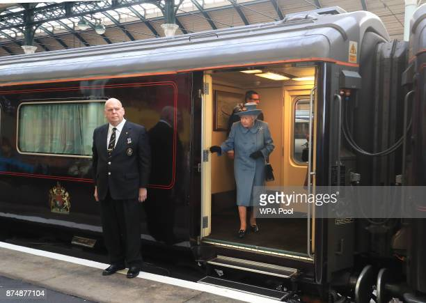 Queen Elizabeth II arrives at Hull Railway Station during a visit to the city to mark its year as the UK City of Culture on November 16 in Kingston...