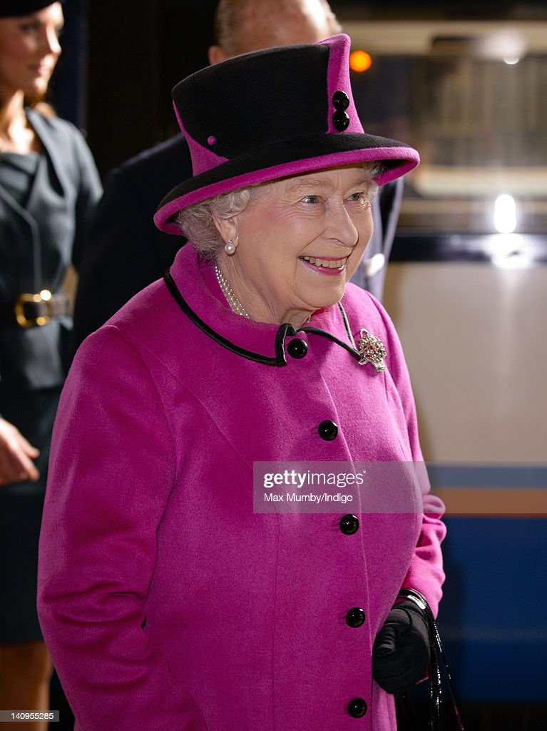 Queen Elizabeth II arrives at Leicester Train Station to begin a visit to the city on the first date of her Diamond Jubilee tour of the UK on March 8, 2012 in Leicester, England.