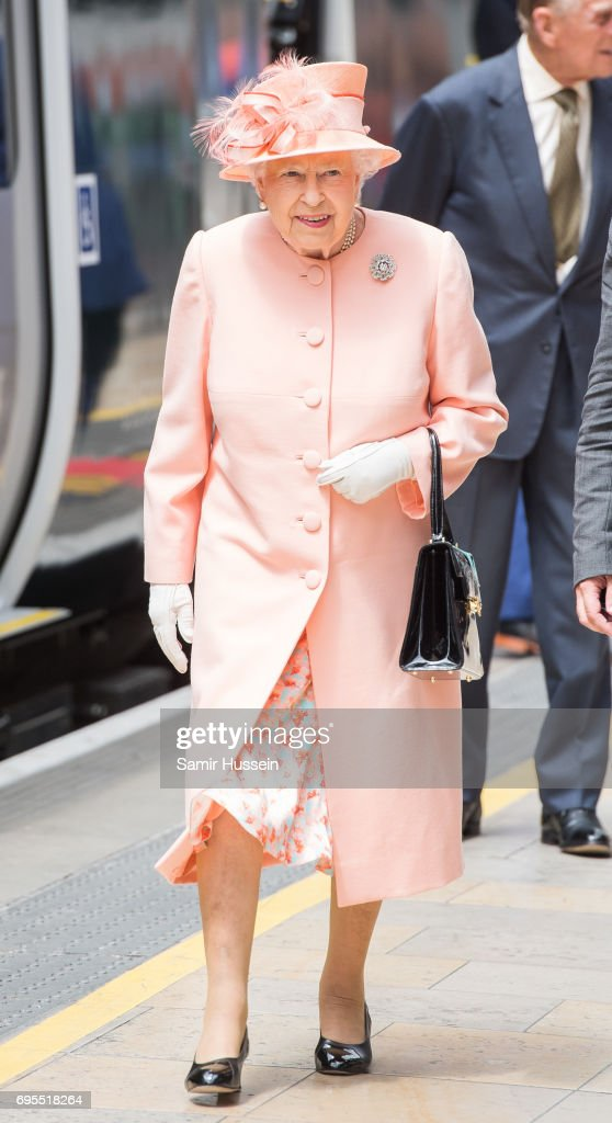 Queen Elizabeth II arrives at Paddington station by train to mark the 175th anniversary of the first train journey by a British Monarch on June 13, 2017 in London, United Kingdom. The first journey was made by Queen Victoria on June 13th, 1842.