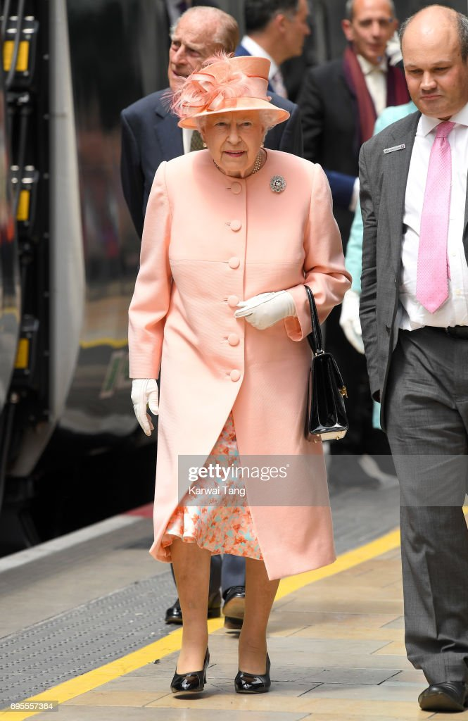 Queen Elizabeth II arrives at Paddington Station to name a new train 'Queen Elizabeth ll' to mark the 175th anniversary of the first train journey by a British Monarch on June 13, 2017 in London, United Kingdom. The first journey was made by Queen Victoria on June 13th, 1842.