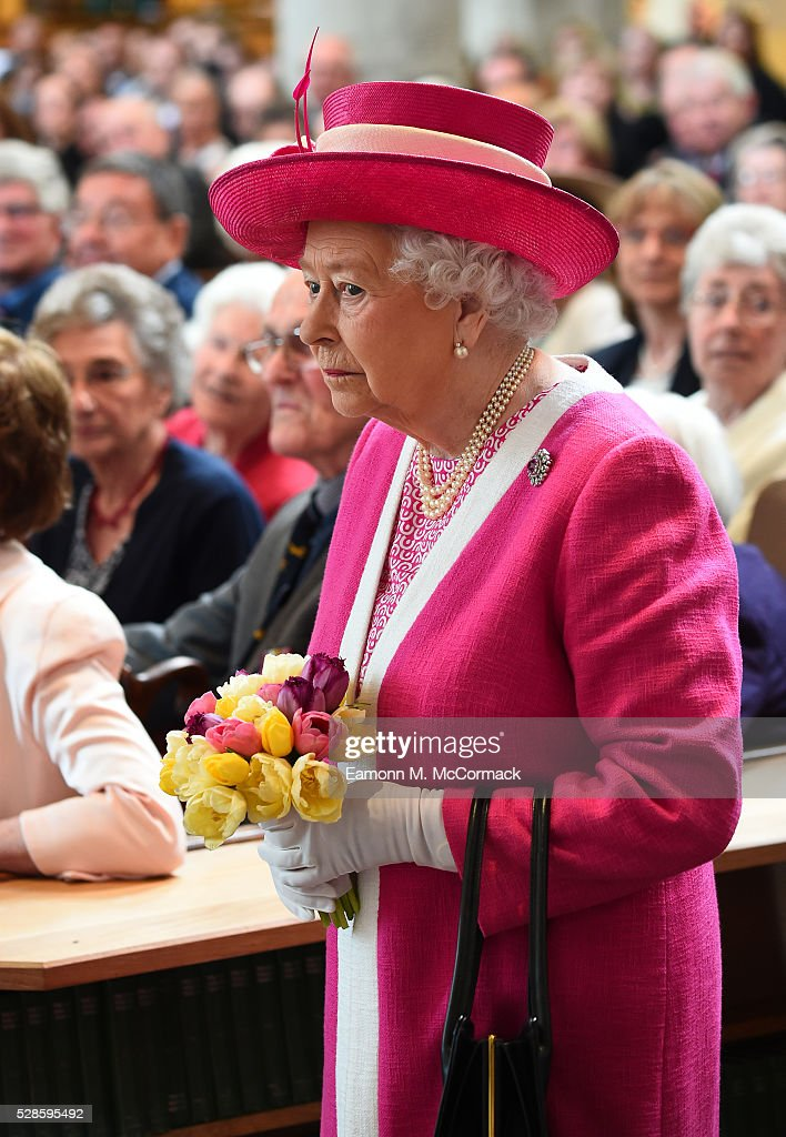 The Queen arrives at St Peter's Church, Berkhamsted for a service before her visit to Berkhamsted School as part of its 475th Anniversary celebrations on May 6, 2016 in Berkhamsted, England.