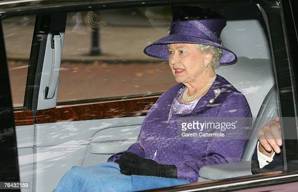 Queen Elizabeth II arrives at the 10th anniversary memorial service for Diana Princess Of Wales held at the Guards Chapel on August 31 2007 in London...