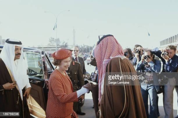 Queen Elizabeth II arrives at the camel races in Riyadh during her state visit to Saudi Arabia 18th February 1979