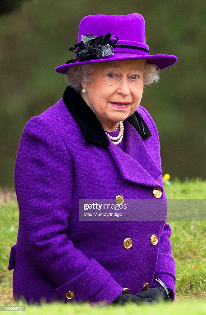 Queen Elizabeth II arrives at the church of St Peter and St Paul in West Newton to attend Sunday service on February 03, 2013 near King's Lynn, England.