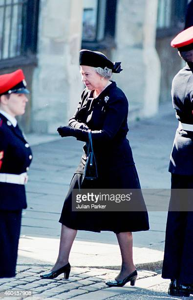 Queen Elizabeth II arrives at The Funeral of Diana Princess of Wales at Westminster Abbey London on September 6 in London England