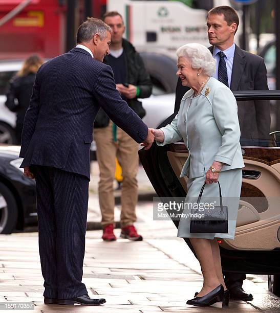 Queen Elizabeth II arrives at the Goring Hotel to attend a Christmas Lunch for her close members of staff on December 03 2012 in London England