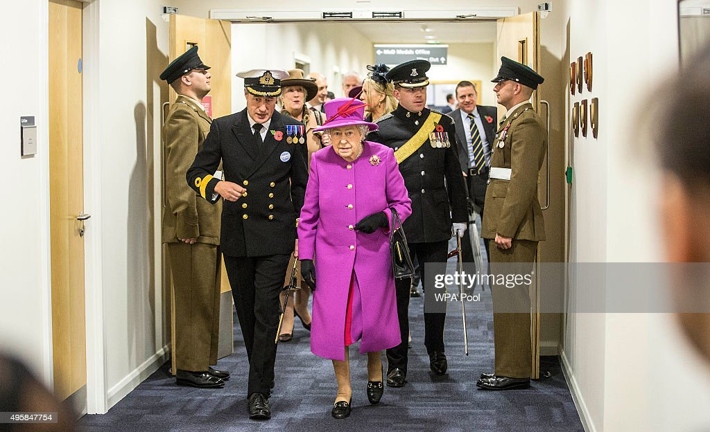 Queen Elizabeth II arrives at the joint casualty and compassionate centre within Imjin barracks on November 5, 2015 in Innsworth, Gloucestershire, United Kingdom.
