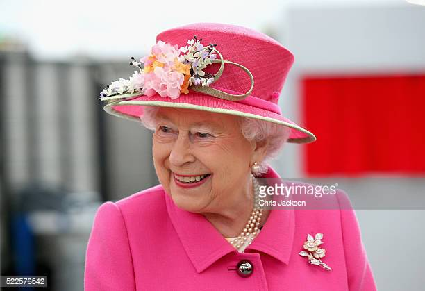 Queen Elizabeth II arrives at the Queen Elizabeth II delivery office in Windsor with Prince Philip Duke of Edinburgh on April 20 2016 in Windsor...