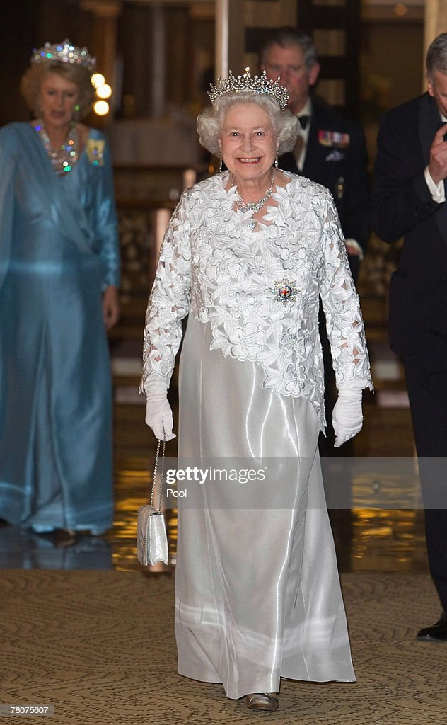 Queen Elizabeth II arrives at the Serena Hotel for The Queen's Banquet for Commonwealth Heads of Government on November 23, 2007 in Kampala, Uganda. The Duchess is in Uganda with The Prince of Wales during the Commonwealth Heads of Govenment Meeting. CHOGM will be attended by over 5000 delegates, The Queen as well as UK Prime Minister Gordon Brown.