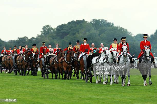 Queen Elizabeth II arrives during day five of Royal Ascot at Ascot racecourse on June 23 2012 in Ascot England