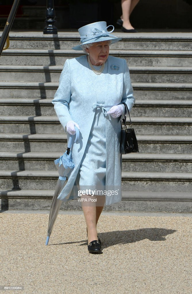 Queen Elizabeth II arrives for a garden party at Buckingham Palace on June 1, 2017in London, England.