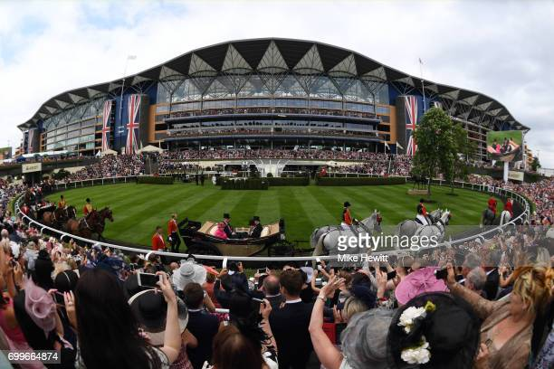 Queen Elizabeth II arrives for Ladies Day on Day Three of Royal Ascot at Ascot Racecourse on June 22 2017 in Ascot England