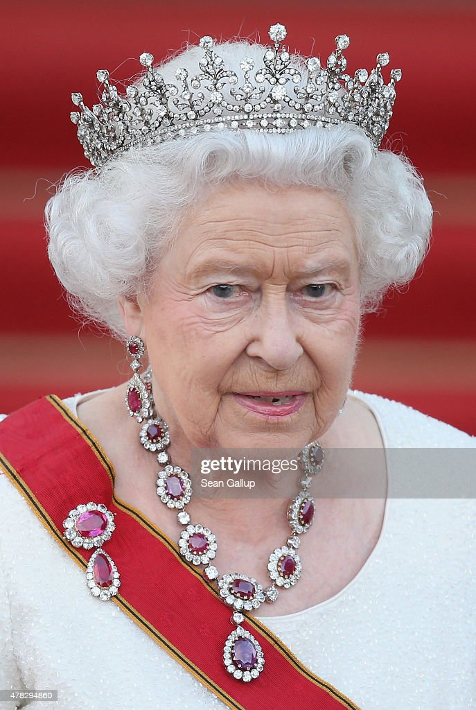 Queen Elizabeth II arrives for the state banquet in her honour at Schloss Bellevue palace on the second of the royal couple's four-day visit to Germany on June 24, 2015 in Berlin, Germany. The Queen and Prince Philip are scheduled to visit Berlin, Frankfurt and the concentration camp memorial at Bergen-Belsen during their trip, which is their first to Germany since 2004.