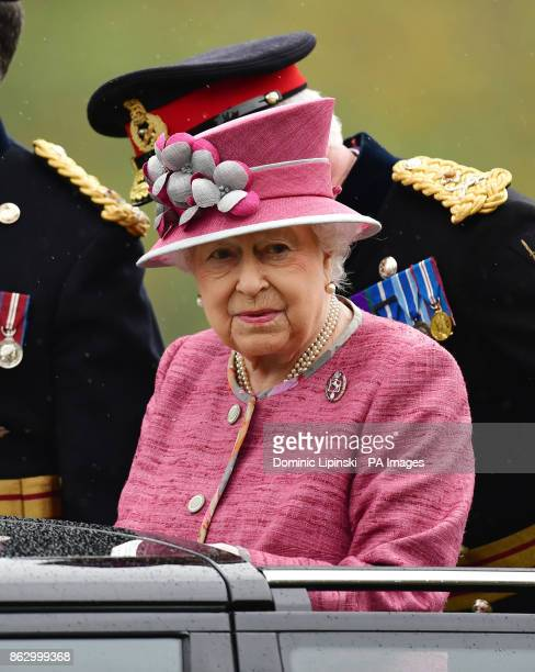 Queen Elizabeth II arrives in Hyde Park in London to mark the 70th anniversary of the King's Troop Royal Horse Artillery