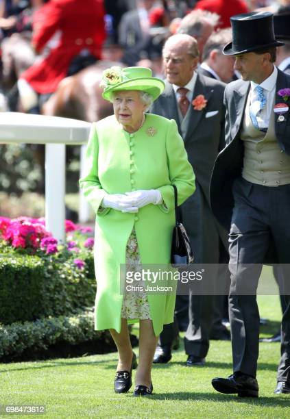 Queen Elizabeth II arrives in the parade ring with the Royal Procession during Royal Ascot 2017 at Ascot Racecourse on June 20 2017 in Ascot England
