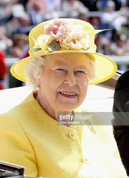 Queen Elizabeth II arrives in the Royal Carriage into the parade ring on day 4 of Royal Ascot at Ascot Racecourse on June 19 2015 in Ascot England