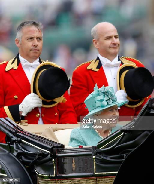 Queen Elizabeth II arrives in The Royal Procession on Day Four of Royal Ascot at Ascot Racecourse on June 23 2017 in Ascot England