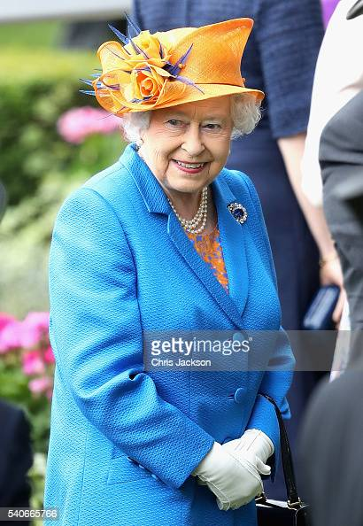 Queen Elizabeth II arrives into the parade ring as she attends the third day of Royal Ascot at Ascot Racecourse on June 15 2016 in Ascot England