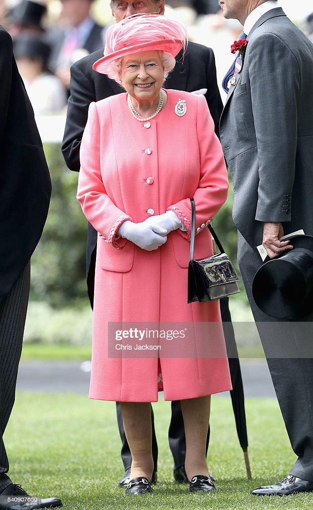 Queen Elizabeth II arrives into the Parade Ring on the fourth day of Royal Ascot at Ascot Racecourse on June 17, 2016 in Ascot, England.