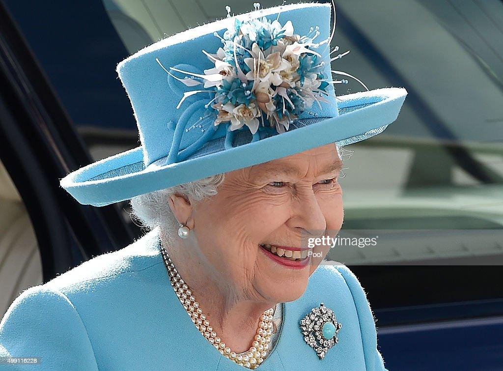 Queen Elizabeth II arrives to Marsa racecourse in the outskirts of Valletta on November 28, 2015 in Valletta, Malta.