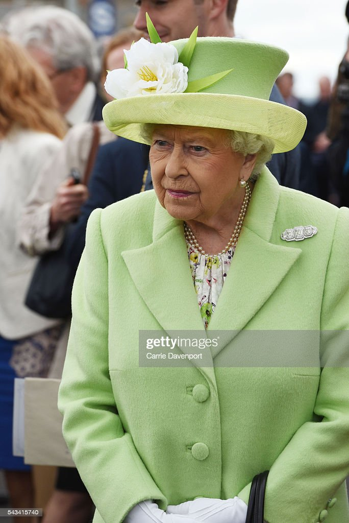 Queen <a gi-track='captionPersonalityLinkClicked' href=/galleries/search?phrase=Elizabeth+II&family=editorial&specificpeople=67226 ng-click='$event.stopPropagation()'>Elizabeth II</a> arrives to open the new Bellarena Station village on June 28, 2016 in Bellarena, Northern Ireland.