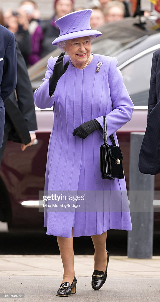 Queen Elizabeth II arrives to open the new National Centre for Bowel Research and Surgical Innovation at Queen Mary, University of London on February 27, 2013 in London, England.