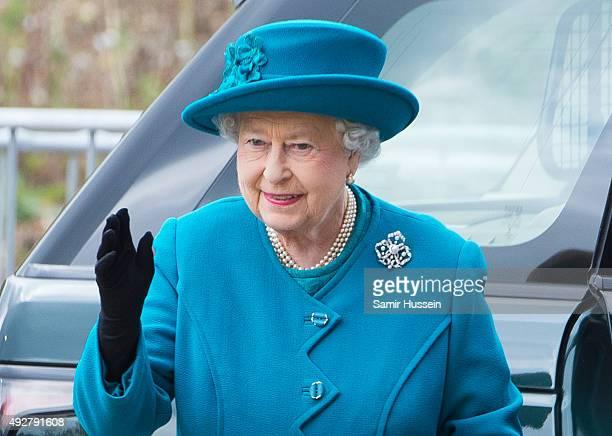 Queen Elizabeth II arrives to open The School of Veterinary Medicine at University of Surrey on October 15 2015 in Guildford England