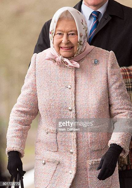 Queen Elizabeth II arrives to start her Christmas Break at Sandringham at King's Lynn Station on December 17 2015 in King's Lynn England