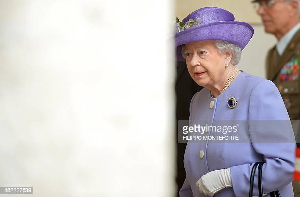 Queen Elizabeth II arrives to visit Italian President Giorgio Napolitano at the Quirinale palace in Rome for an official visit on April 3 2014 The...