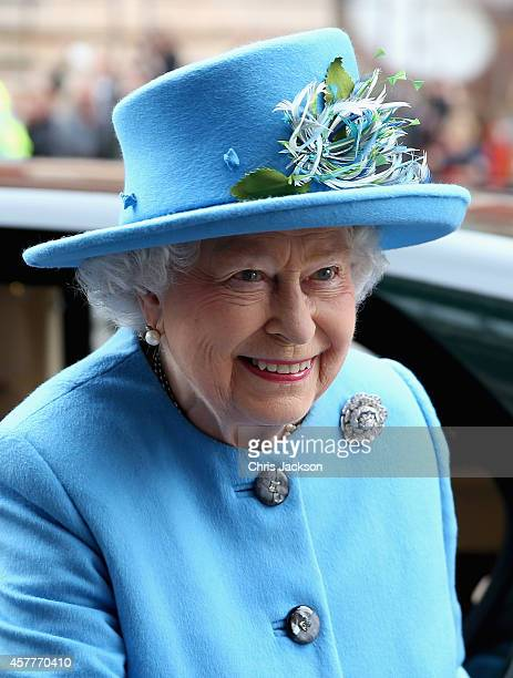 Queen Elizabeth II arrives to visit the 'Information Age' Exhibition at the Science Museum on October 24 2014 in London England