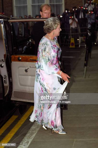 Queen Elizabeth II arriving at Spencer House to attend a dinner hosted by present and former Prime Ministers to mark the 40th anniversary of her...