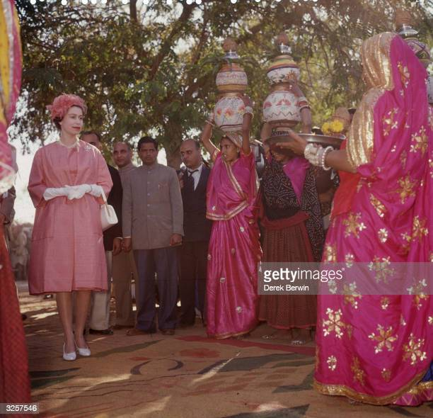 Queen Elizabeth II at a model village in Jaipur India during a royal tour 22nd January 1961